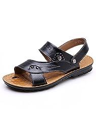DeLamode Men Summer Beach Sandals Genuine Leather Flip Flop Slippers Cool Shoes