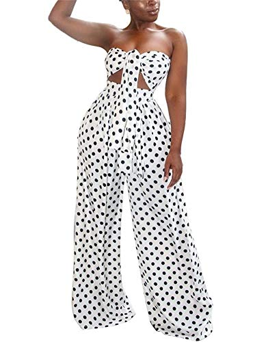 (LKOUS Womens Summer Sexy Polka Dot Off Shoulder Sleeveless Backless Bra Crop Top and High Waist Long Pants 2 Pieces Outfit)