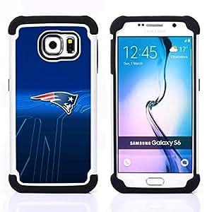 """Samsung Galaxy S6 / SM-G920 - 3 en 1 impreso colorido de Altas Prestaciones PC Funda chaqueta Negro cubierta gel silicona suave (Patriotas Equipo deportivo"""")"""