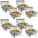 Rectangular Chafing Dish Full Size Chafer Dish Set 4 Pack of 8 Quart Stainless Steel Frame (8)