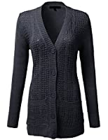 J.TOMSON Women's Cable Knit Button Up Long Sleeve Cardigan