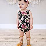 Cute Adorable Floral Romper Baby Girls Sleeveless Tassel Romper One-pieces +Headband Sunsuit Outfit Clothes