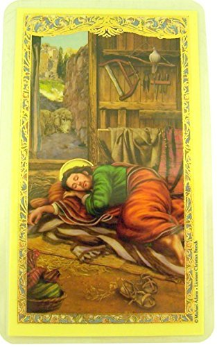 The Sleeping Saint Joseph Laminated Holy Card with Prayer, 4 1/2 Inch (Single (Pack of 1)) (Take Me Back Take Me Back Dear Lord)
