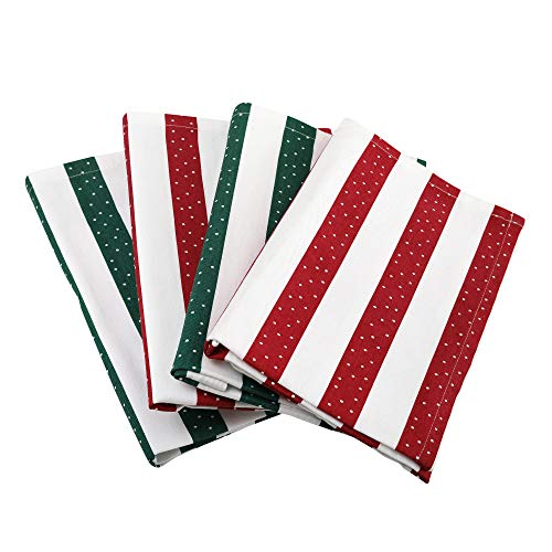 Napkins, Set Of 4, Milo, 100% Cotton Twill, Eco Friendly And Safe, Machine Washable, 20 X 20 Inch, Classic Green And Red Stripe