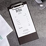 (10-Pack) 8'' x 4'' Natural Wood Menu Holders/Check Presenters with Clip Sleek, Contemporary Appearance Dark Brown