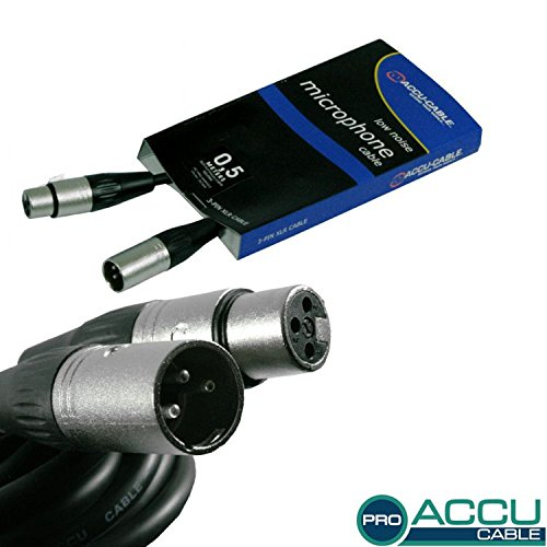 Accu Cable 0.5m 3 Pin XLR Microphone Cable
