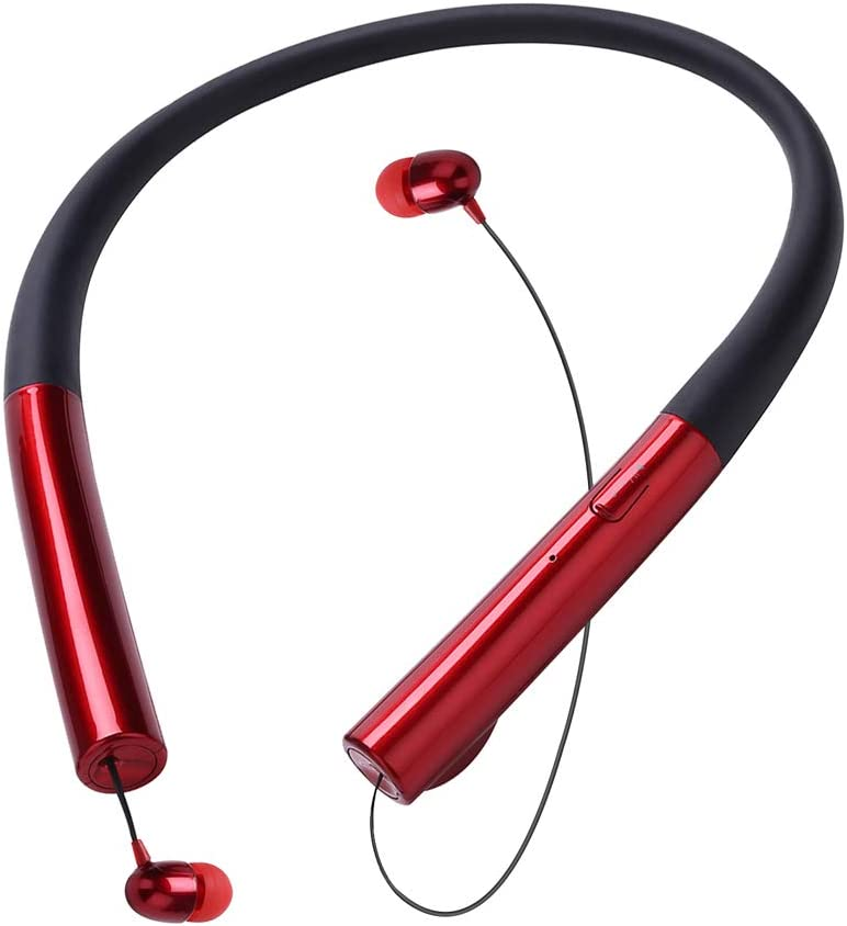 Bluetooth Headphones, ThreeMay Wireless Neckband Headset with Retractable Earbuds Sports Sweatproof Noise Cancelling Stereo Earphones with Mic-Red