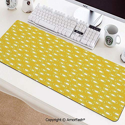 Textured Cloth Mouse Pad,Thick Large Computer,Anti-Fray Stitched Edges for Keyboard,PC,31.5
