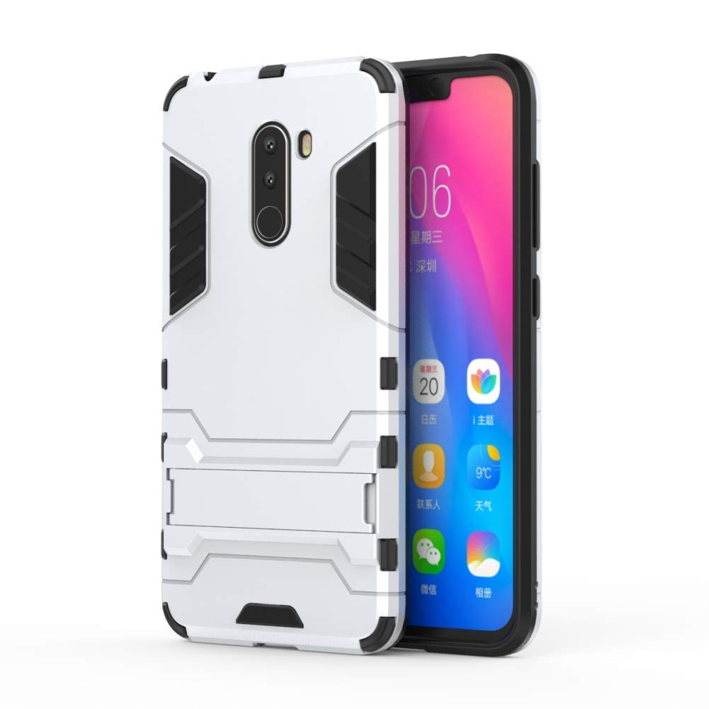 2 in 1 Shockproof with Kickstand Feature Hybrid Dual Layer Armor Defender Protective Cover 6.18 inch Blue Case for Xiaomi Pocophone F1