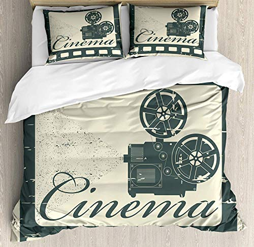 - Z&L Home Movie Theater Duvet Cover Bedding Sets Luxury Soft Flat Sheet Set with Pillow Shams for Kids Teen Girls Boys Men Women, Grunge Poster Design with Strip Frame Cinema Lettering and Projection
