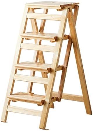 HGXC Escalera de Tijera Escalera Plegable, Escalera Interior de Engrosamiento, Escalera de Cuatro Pasos para el hogar Escalera Familiar multifunción (Color : Color Madera): Amazon.es: Hogar