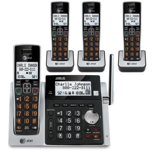 (AT&T CL83484 DECT 6.0 Cordless Phone with Answering System, Dual Caller ID/Call Waiting, 4 Cordless Handsets, Silver/Black)