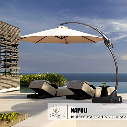 Umbrellas Patio Furniture - Grand Patio Napoli Deluxe 11 FT Curvy Aluminum Offset Umbrella, Patio Cantilever Umbrella with Base, Champagne
