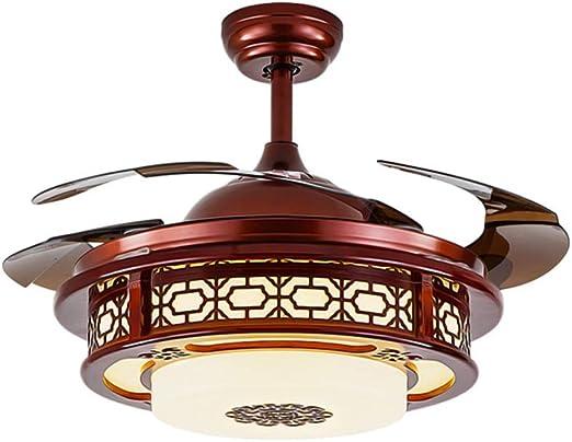HN Lighting Ventiladores de Techo de 42 Pulgadas con lámpara, iluminación Colgante de Ventilador de Madera Maciza, lámpara de Ventilador LED, Interruptor de Control de Pared, aspa retráctil: Amazon.es: Hogar
