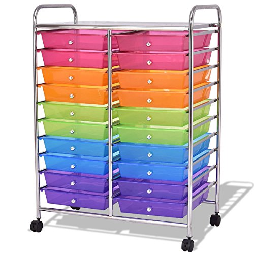 20 Drawers Studio Storage Rolling Cart Mutli Color by Combrex