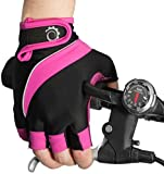Cycle Gloves – Half Finger Light Pad Gloves For Riding Weightlifting Cycling And More – Women and Men Sporting Gloves (Pink Black, Small)