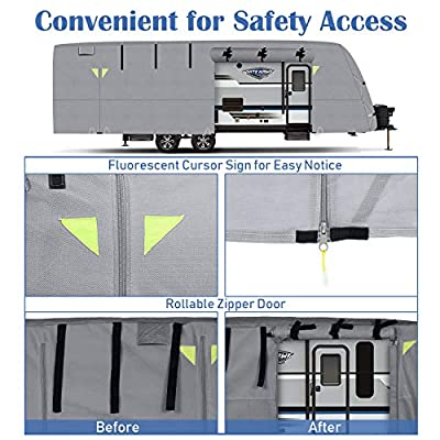 OOFIT Travel Trailer RV Cover Fits for 27' - 30' for RVs, Breathable Waterproof Anti-UV Rip-Stop Weather Resistant Camper Cover, 4 Layers Non-Woven Fabric Roof with Storage Bag: Automotive