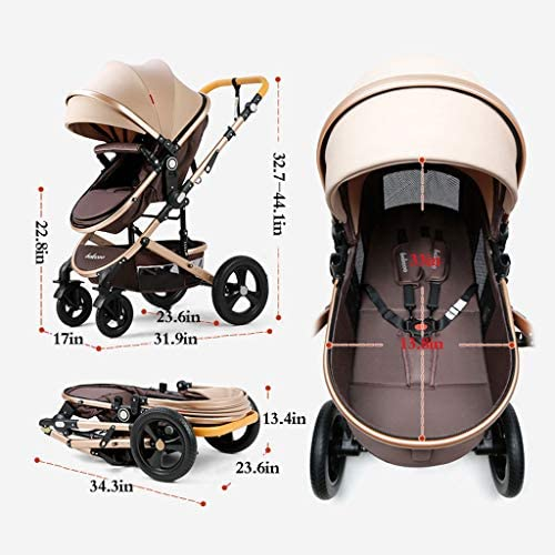51CwQgiT6nL. AC - Compact Convertible Luxury Strollers, Pushchair Stroller,Portable Pram Carriage Multifunctional Pushchair ,5-Point Harness And High Capacity Basket (Color : Blue)