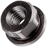 12L14 Steel Flange Nut, Non-Serrated, Black Oxide Finish, 3/8''-16 Threads, 7/8'' Flange OD, 1/8'' Flange Thickness, 1/2'' Height, Made in US (Pack of 5)