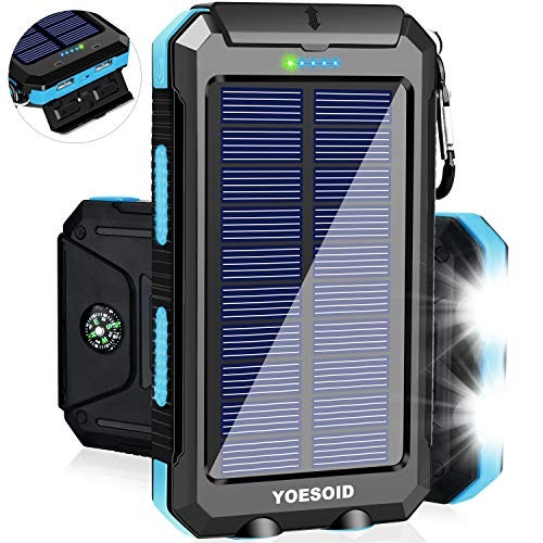 Solar Charger 20000mAh YOESOID Portable Outdoor Waterproof Solar Power Bank Camping External Battery Packs with Dual USB…