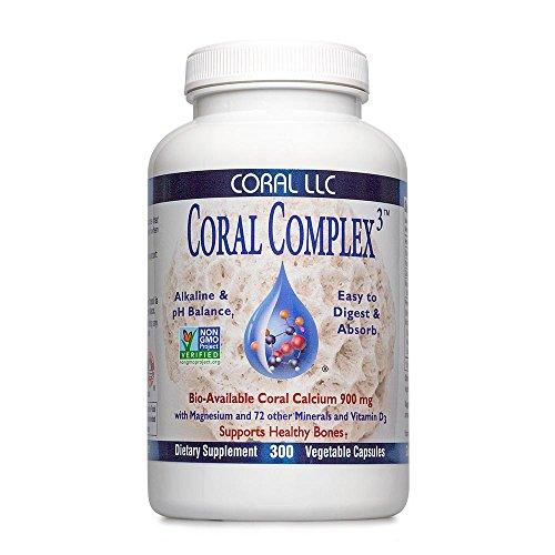 Coral Calcium - Coral Complex 3 900 milligrams of Bio-Available Coral Calcium With 1200 IU's Of Vitamin D3 - 300 Vegetarian Capsules