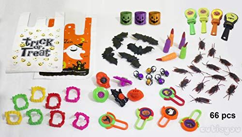 Halloween Favors Toys + plus Goody Bags for Kids + Printable Halloween Activities Ebook Trick-or-Treat Party Favor, Halloween Gifts, School Classroom Treats, 66 PCS