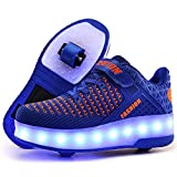 Ufatansy LED Shoes USB Charging Flashing Sneakers Light Up Roller Shoes Skates Sneakers with Wheels for Kids Girls Boys(12 M US =CN29, Double Wheel, Blue)
