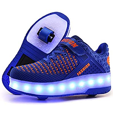 Ufatansy LED Shoes USB Charging Flashing Sneakers Light Up Roller Shoes Skates Sneakers Wheels Kids Girls Boys(1 M US =CN32, Double Wheels, Blue)