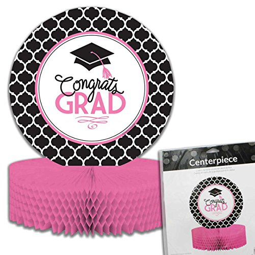 Congrats Grad Beads (Creative Converting Centerpiece with Honeycomb Base and Glamorous Grad Collection, Black/White/Pink)