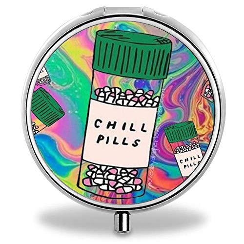 Feddiy Pill Organizer, Customized Chill Pills Pill Boxes with 3 Components and Mirror for Travelling and Daily Needs