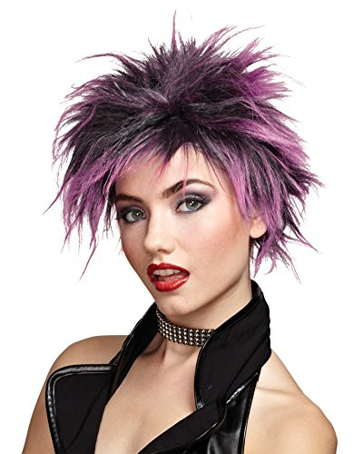 [Wig Pink Red or Purple Punker Girl Punk Chic Color: Pink] (Punk Rocker Girl Costume Ideas)