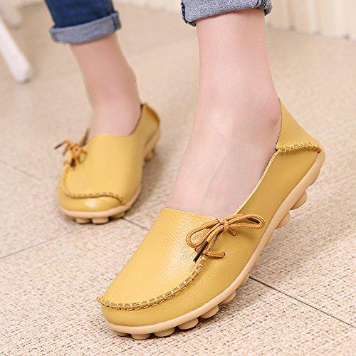 Lucksender Frauen Rindsleder Lace-Up Driving Schuhe Loafers Bootsschuhe Gelb