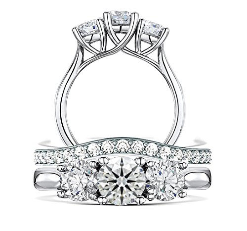 Top Grade Realistic 3-Stones Hearts & Arrows Cut Simulated Diamond Ring Curve Band Set Solid 925 Silver 3rdset9