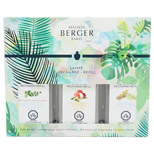 Lampe Berger Fragrance Trio Refill by Maison Berger | For Home Fragrance Oil Diffuser | 3x6.08 Fluid Ounces - 3x180ml | Trio Set | Lychee Paradise, Pure White Tea & New Fresh Eucalyptus ()