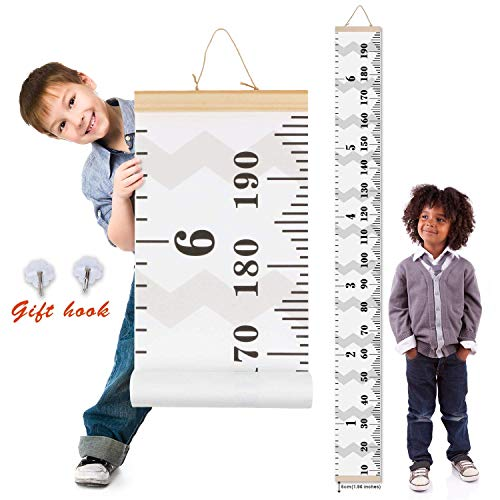 MIBOTE Kids Growth Chart, Wood Frame Fabric Canvas Height Measurement Ruler from Baby to Adult for Child's Room Decoration 7.9 x 79in (7.9 x 79in, ()
