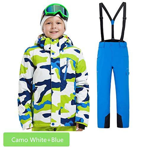 (Boys Girls Waterproof Ski Suit Kids Hooded Snowboard Jacket Pants Set Windproof Snowboarding Snow Suit Coat for Child (Camo White+Blue, US-12))