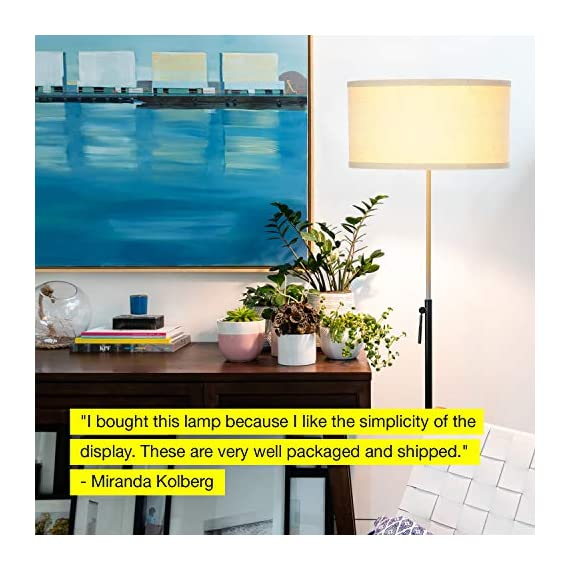 "Brightech Telescope - Black & Gold Modern Floor Lamp for Bedroom - Tall, Height Adjustable Pole Light for Living Room & Office Lighting - Standing Lamp, Antique Brass - With LED Bulb - UNIQUE MODERN DESIGN THAT LOOKS GREAT WITH ANY DECOR: The Brightech Telescope LED Floor Lamp is stylish, unique, and convenient too, and will get your guests talking about all its amazing features. The gold accents on the pole, base, and socket stand out in either color and create a touch of elegance in any space. The height adjustable pole means that you can set the scene exactly how you want it. It's pairs well with modern, minimalist, contemporary, and rustic decor schemes. BEAUTIFUL WARM LIGHT FOR HOME & OFFICE; FITS IN NARROW SPACES An alternative to unpleasant overhead lights, the Telescope LED lamp provides soft yet plentiful room lighting to enlighten your indoor space. It's perfect for bedrooms or living rooms, and the slim design allows for easy placement. It fits perfectly behind sofas or next to end tables, to shine overhead with a warm, inviting glow that isn't harsh or glaring. SPECS: ALEXA & GOOGLE COMPATIBLE, HEAVY BASE, 65"" TALL: Works with smart outlets that are Alexa, Google Home Assistant, or Apple HomeKit enabled, to turn on/off. (Requires smart outlet sold separately.) Brightech designed this lamp with safety in mind. Its weighted base keeps it from tipping easily. Shade 9"" tall by 18"" diameter. - living-room-decor, living-room, floor-lamps - 51CwS6EnifL. SS570  -"
