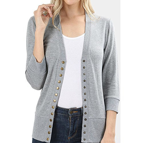 Women's Snap Button 3/4 Sleeve Sweater Cardigan with Ribbed (Ribbed Detail Cardigan)