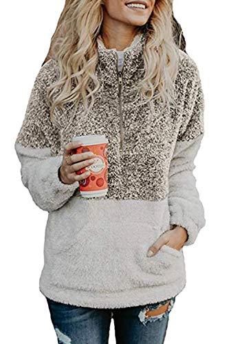 HSRKB Womens Sweatshirts Fall Fleece Jackets Sherpa Pullover Winter Coats with Zipper Coffee ()