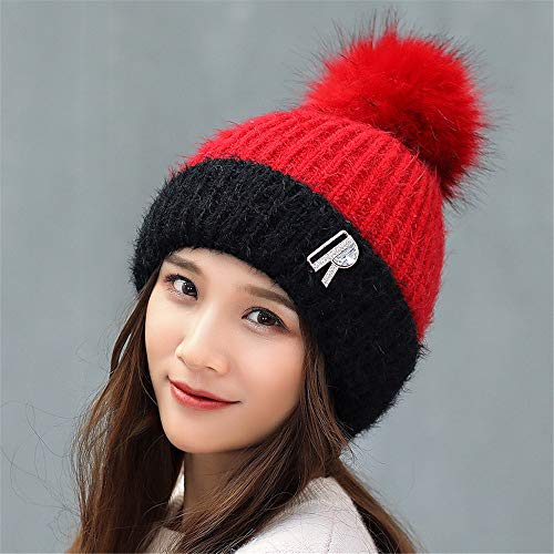 Gxinyanlong Women's Winter Stripes, hat, hat, Thickened, Lovely Knitted caps,Gules