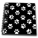 3dRose black & White Paw Print Pattern - Pawprints - Cute Cartoon Animal Eg Dog or Cat Footprints - Mini Notepad, 4 by 4-Inch (db_161522_3)