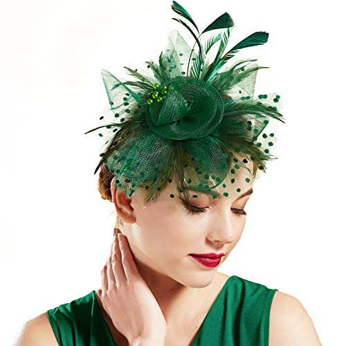 - BABEYOND Bridal Wedding Fascinator Mesh Feather Fascinator Hair Clip Tea Party Fascinator Veil Crystal Wedding Veil (Z-Dark Green)