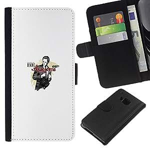 iBinBang / Flip Funda de Cuero Case Cover - SER IMPRESIONANTE - DIVERTIDA - BARNEY BARNY - HTC One M9