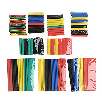 Huilier 328 Pcs 2:1 Polyolefin Heat Shrink Tubing Tube Sleeve Wrap Wire Set 8 Size: Arts, Crafts & Sewing