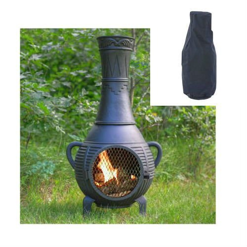 Blue Rooster Pine Style Wood Burning Outdoor Metal Chiminea Fireplace Charcoal Color with Large Black Cover