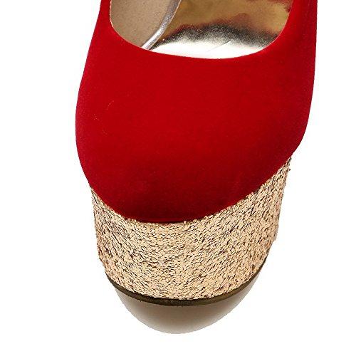Unie Chaussures Légeres Tire AgooLar Rond Couleur PU Stylet Femme Rouge Cuir zSqxEqw80