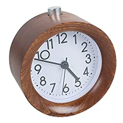 Funwill Classic Small Round Silent Light Wooden Design Alarm Clock for Bedside