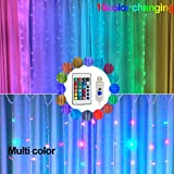 200 LED Remote Control Curtain String Light 16Color Changing 9.8x9.8ft Windows Twinkle Starry Lights for Wedding Party Bedroom Garden Wall Outdoor Indoor Decor(color change curtain string lights)