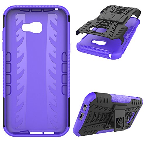 "Galaxy A7 (2017) Case, SsHhUu Tough Heavy Duty Shock Proof Defender Cover Dual Layer Armor Combo Protective Case Cover for Samsung Galaxy A7 (2017) (5.7"") Purple"