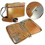 Alston Craig Executive Leather Folio case in A4 & to suit the New Macbook 12 & Pro Retina 13 & Macbook Air 11 & 13 iPad Pro 12.9 / 9.7 / iPad Air 1 & 2 / iPad 2 3 4 & Zipped Folio - Case in Brown